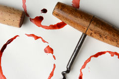 Wine Stains Cork and Corkscrew Stock Photo