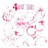 Wine stains vector watercolor illustration. Wine splashes and stains isolated on white background. Wine stains vector watercolor illustration. Wine red splashes Stock Photography