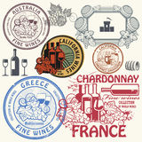 Wine stamps or symbols set Stock Image
