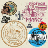 Wine stamps or symbols set Royalty Free Stock Photography