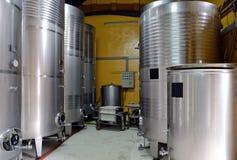Wine in steel barrels Royalty Free Stock Photo