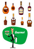 Wine steward and alcoholic drinks collection Stock Photo