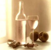 Wine Still Life. Wine bottle still life with peaches and corkscrew Stock Images