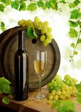 Wine still life with grapevine. Old wine barrel, bottle, glass, grapes, and fresh grapevine border royalty free stock photography