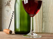 Wine Still Life with Green Bottle Stock Images