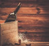 Wine still life in wooden interior Royalty Free Stock Photography