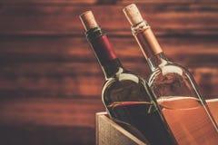 Wine still life in wooden interior Stock Photos