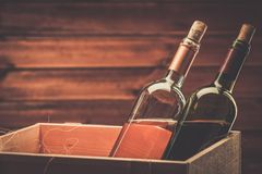 Wine still life in wooden interior Royalty Free Stock Images
