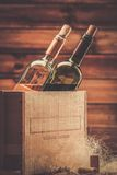 Wine still life in wooden interior Stock Photos