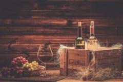 Wine still life in wooden interior Stock Photo