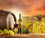 Wine. Still life on wooden keg with vineyard on background Stock Images