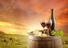 Wine. Still life on wooden keg with vineyard on background Stock Photography