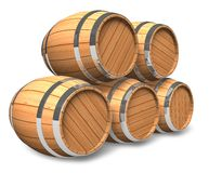 Wine storage. Set of wooden barrels isolated over white background vector illustration