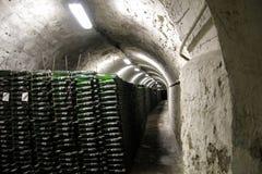 Wine_storage. Wine bottles in underground storage Royalty Free Stock Photos