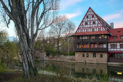 Wine Store with Pegnitz River in Nuremberg Stock Photos