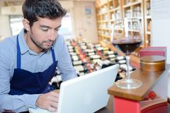 Wine store seller using laptop Stock Photography
