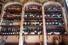 Wine store shelves. Winery shop Stock Photo