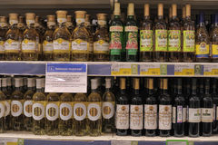 Wine on store shelves Royalty Free Stock Photo