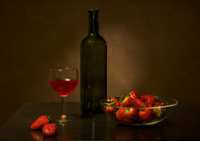 Wine and strawberry Stock Photography