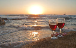The Wine at the Sunset. Red wine at the Mediterranen sunset Stock Photo