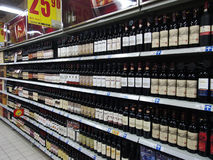 Wine In Supermarket Stock Photos