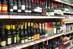 Wine In Supermarket Royalty Free Stock Image