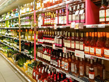 Wine in supermarket Royalty Free Stock Photos