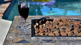 Wine and a Swim Stock Images