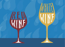 Wine symbol collection with red and white wine blue background Royalty Free Stock Photo