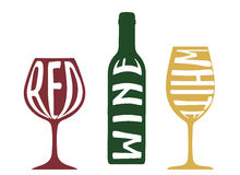 Wine symbol collection with red and white wine Stock Images