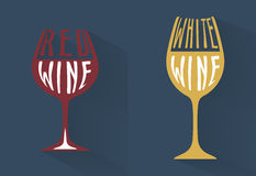 Wine symbol collection with red and white wine long shadow Stock Photo