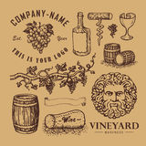 Wine symbols. Monochrome vector illustrations of wine symbols stock illustration