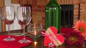 Wine on table. Valentine`s day celebration concept stock video footage