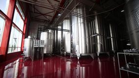 Wine tanks in winery, in motion stock footage