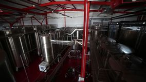 Wine tanks in winery motion stock video