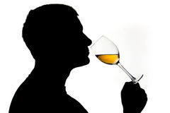 Wine taster. Man in silhouette testing white wine Stock Photo