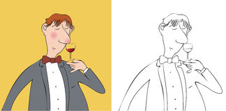 Wine taster. Man smelling and holding glass of wine Stock Images