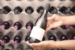 Wine taster showing wine bottles with copyspace. A Wine taster showing wine bottles with copyspace Royalty Free Stock Photo