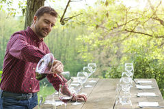 Wine taster and wine glasses Royalty Free Stock Photos