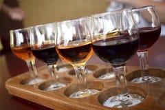 Wine-tasting. восемь бокалов белого и красного вина на дегустации Royalty Free Stock Photo