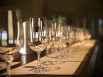 Wine tasting. A long row of empty glasses before the wine tasting starts. Selective focus royalty free stock photo