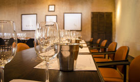 Wine tasting. Empty glass ready to be served in a wine tasting Stock Images