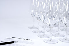 Wine Tasting. Empty wine glasses at a wine tasting event Royalty Free Stock Images