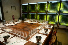 Wine tasting area at the winery Viu Manent. Stock Photography