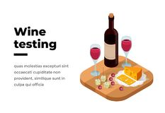 Wine tasting banner isometric vector. Illustration. Wine shop or degustation concept. Presentation of alcohol. Red wine on a wooden stand with a glass of wine Royalty Free Illustration