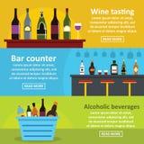 Wine tasting bar banner horizontal set, flat style Royalty Free Stock Photo