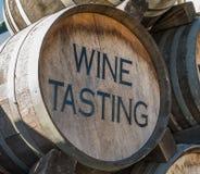 Wine Tasting Barrel. Wine tasting sign on old oak barrel royalty free stock images
