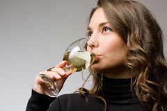 Wine tasting beauty. Royalty Free Stock Image