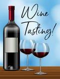 Wine tasting on blue background stock images