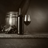 Wine tasting in the cellar with glass Stock Image